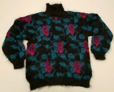Atlandia by Gerdur Hand Knit black bright floral flower mohair Sweater Sz Large