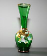 """BEAUTIFUL VINTAGE HAND PAINTED AND GILDED 7"""" GLASS VASE"""