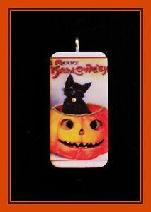 Halloween Kitten in Pumpkin (MERRY HALLOWEEN) Vintage Postcard Domino Pendant
