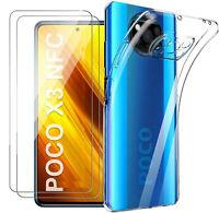 Coque Silicone TPU Transparente + 2 Verres Trempes Pour Xiaomi Poco X3 Pro / Po