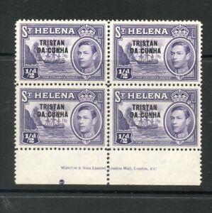 TRISTAN DA CUNHA 1952 1/2d BLOCK 4 IMPRINT FINE UM/MNH