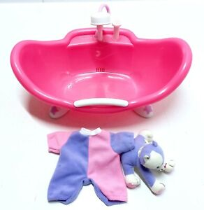 Berenguer Baby Doll Bathtub And Berenguer Babies Jumpsuit With Plush Kitten Cat