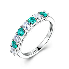 Round 6mm Green&White Cubic Zirconia Band Ring Engagement Wedding 18K White Gold