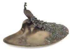 Art Nouveau Plum & Peacock Tray Sculpture Jewelry Dish Statue Figurine