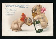 DOGS Champagne Christmas greetings c1900/10s? PPC