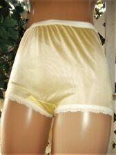 Carole'S Usa Canary Yellow Nylon & Scalloped Lace Granny Panty Brief 8/Xl
