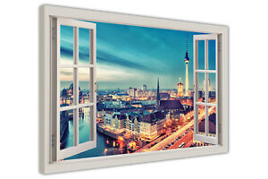 BERLIN GERMANY 3D WINDOW FRAME VIEW CANVAS WALL ART PICTURES CITY PRINTS DECO