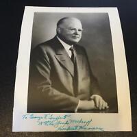President Herbert Hoover Signed Autographed 8x10 White House Photo JSA COA