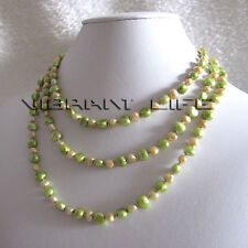 "52"" 5-6mm Champagne Green Baroque Freshwater Pearl Necklace U"