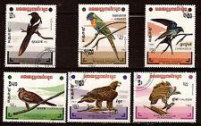 KAMPUCHEA 6 T :les oiseaux,aigles,loriquet,hirondelle,vautour,  1m222t3