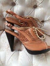 QUPID Tan Faux Leather Open Toe Lace Up Stilettos Heels Women's 8.5 HiddenJuel