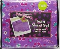 Girls Twin Sheet Set Pink Purple Hearts Love Peace Teen 3pc New Soft Easy Care