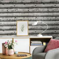 Wallpaper roll textured Distressed Grey Black silver metallic Wood Planks Boards