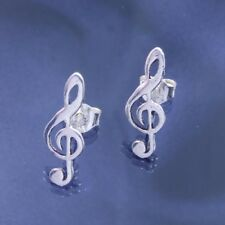 Sterling 925 Silver Treble Clef Stud Earrings