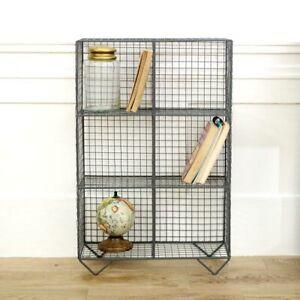 Grey Wire Floor Shelving Unit industrial rustic retro office kitchen shelf decor