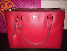 TORY BURCH ROBINSON MINI DOUBLE ZIP SAFFIANO TOTE-KIR ROYALE (RED) $475 NWT-MINT