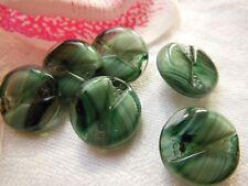 lot 6 boutons anciens en verre camaieu vert diamètre: 1,5 cm