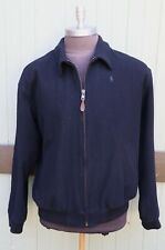 Polo Ralph Lauren 100% Wool Black Zip Up Varsity Driving Jacket Men's SZ XL