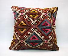 "Kilim Square Pillow, 20""x20"", Decorative Throw Cushion, Handmade Vintage Pillow"