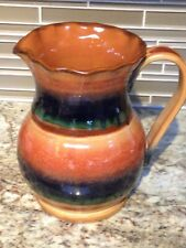 Pottery pitcher from Italy, handmade, sienna, blue and green, beautiful