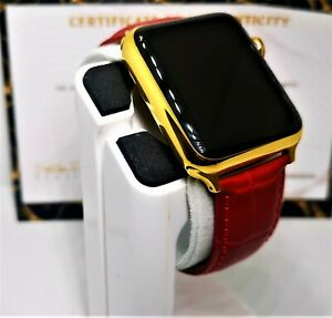24ct Gold Plated 42MM Apple Watch 24ct Red Genuine Leather Band 24K