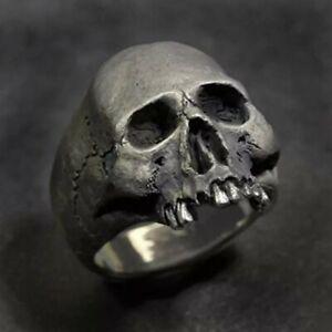 Retro Biker Punk Goth Pewter Finish Irregular Alloy Skull Ring size 12 - new