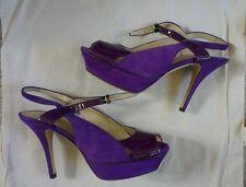 Raro YSL Yves Saint Laurent homenaje púrpura patente Gamuza Tacones 37.5 Reino Unido 4.5 en muy buena condición
