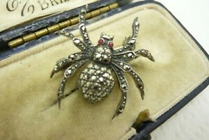 VINTAGE JEWELLERY SILVER MARCASITE SPIDER INSECT BROOCH PIN