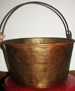 Antique Primitive Brass Bucket Kettle Pot With Iron Handle