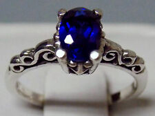 1ct blue sapphire antique 925 sterling silver ring size 5 USA made
