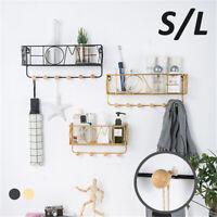 Wall Mounted Shelf Wire Rack Storage Unit With 6 Hooks Basket Hanging Key Hanger