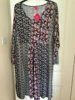 Together ladies dress plus size 32 navy patchwork print gold stud detailing