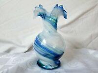 """Antique Hand Blown Glass Vase Blue White Swirl Wisp of Yellow Ruffled Rim 7"""""""