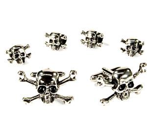 Skull and Crossbones Studs and Cufflinks Silver Finish