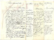 LA METEOROLOGIE EN 1865 - CORRESPONDANCE AU FUTUR AMIRAL MOUCHEZ