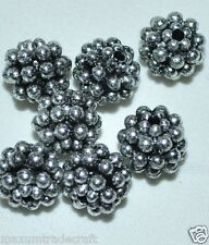 100pcs vintage silver metalic berry acrylic beads 10mm
