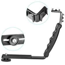 Dual Hot Shoe L-shaped Angle 2 Shoe Flash Mount Bracket DV Tray for DSLR Camera