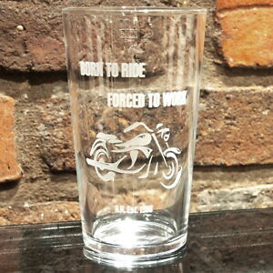 Biker Personalised Pint Glass Motorbike Boyfriend 18th Christmas Birthday Gift