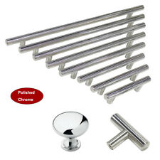 Polished Chrome Kitchen T Bar Cabinet Pulls Door Handles Mushroom Drawer Knobs