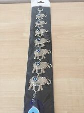 Turkish Wall Hanging 7 Silver Elephants Blue Evil Eye Protection Charm.UK Seller