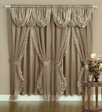 Sheer & Lace Victorian Window Curtain Set w/ Satin Valance & Backing Panel TAUPE