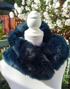 Vintage blue  faux fur collar- neck collar/Vintage collar