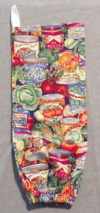 "Handmade Cloth Plastic Bag Holder ""Variety Vegetable Cans"" Storage 16"" long"