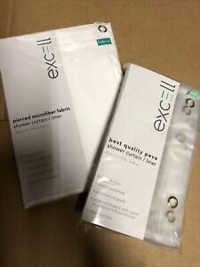 Excell Fabric Shower Curtain And Clear Liner Set Brand New