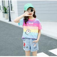IENENS Summer Kids Girls Outfits Sets T-shirt + Shorts Cotton Tops Denim Pants