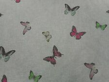 Sanderson Curtain Fabric 'Butterfly Voile' Fuchsia/Cream 3.6 METRES 100% Linen