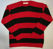 Adults Fashion Fancy Dennis Crew Neck Jumper Striped Red Black White Khaki Green