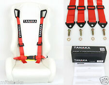 1 TANAKA UNIVERSAL RED 4 POINT BUCKLE RACING SEAT BELT HARNESS 2""