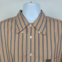 Faconnable Orange Blue Brown Striped Mens Dress Button Shirt Size 2XL XXL