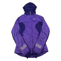 Nike Jacket Womens XS Purple Gray Swoosh Full Zip Coat Hooded Ladies Outdoor